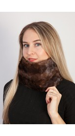 Brown mink fur neck warmer - created with mink fur remnants